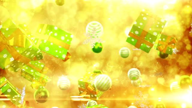 Navidad símbolos falling (oro/verde-Loop) - vídeo