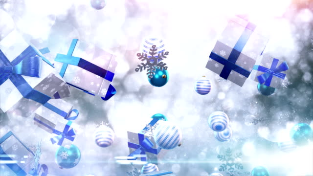 Christmas symbols falling (silver/blue) - Loop video