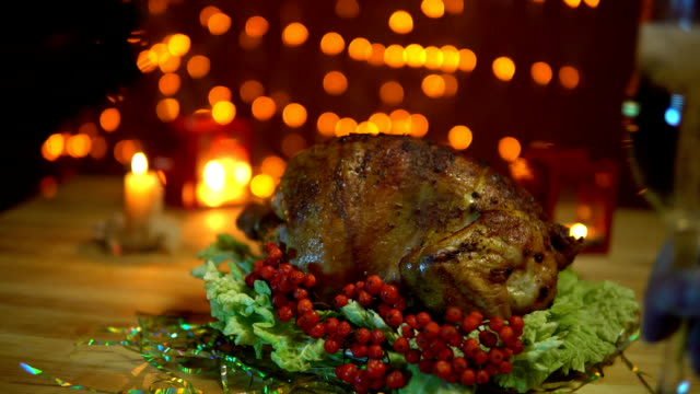 Christmas table setting with turkey. video