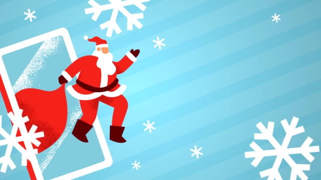 Christmas template of santa claus mobile phone Merry Christmas animation of santa claus man waving hello with mobile phone and winter snowflake on empty copy space background. Holiday template for video card, loop able 4k xmas footage. web banner stock videos & royalty-free footage