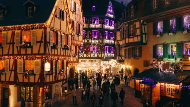 Christmas time in Colmar, Alsace, France 4K Video: Old town illuminated and decorate like a fairy tale in Christmas festive season in Colmar, Alsace, France european culture stock videos & royalty-free footage