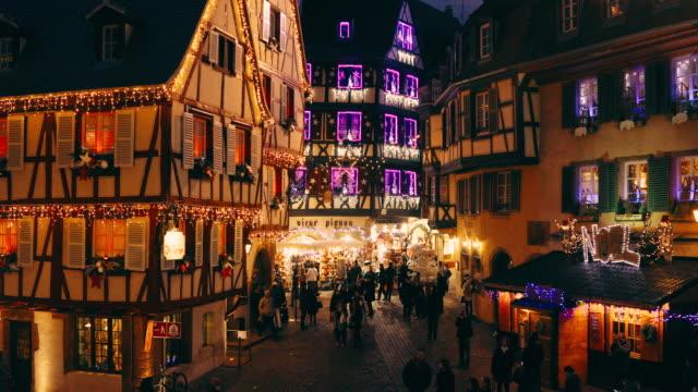 christmas time in colmar, alsace, france - francja filmów i materiałów b-roll