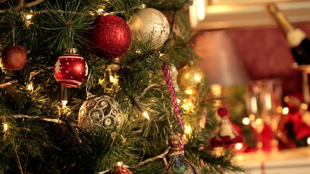 Christmas Time Decorated Christmas tree and christmas presents hanging stock videos & royalty-free footage