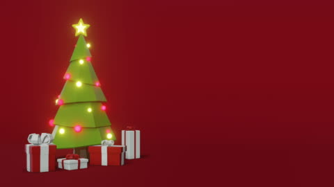Christmas Tree Animation with space for text Christmas Tree with Presents animation on a red background. christmas tree stock videos & royalty-free footage