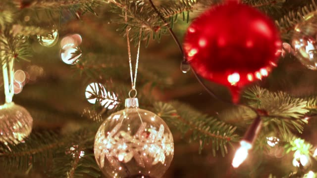 christmas tree background - christmas decoration стоковые видео и кадры b-roll