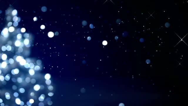 christmas tree blue decoration blurred lights loop video