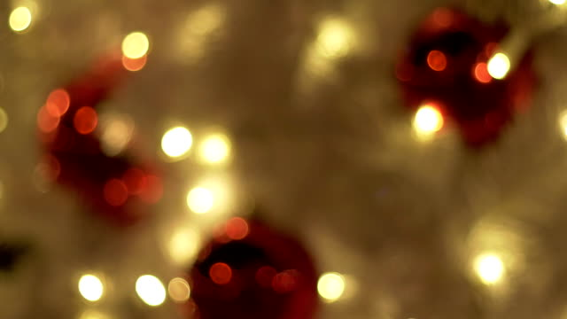 Christmas Tree Decorated In Jerusalem, From Defocused Bokeh Background to Focus video