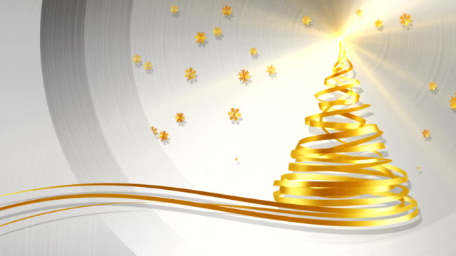 Christmas Tree From Gold Tapes And Snowflakes Over Metal Background video