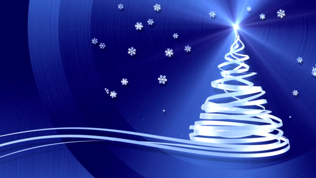 Christmas Tree From White Tapes And Snowflakes Over Blue Metal Background video