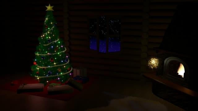 stockvideo's en b-roll-footage met kerstboom, geschenkdozen en open haard - christmas cabin