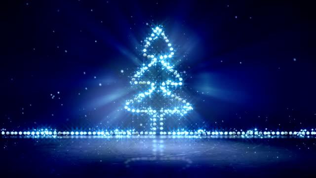christmas tree glowing blue lights loop background video