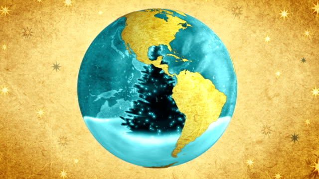 Christmas tree in the globe.Retro style. video