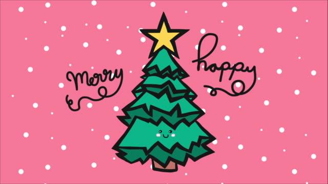 vídeos y material grabado en eventos de stock de navidad árbol feliz navidad y feliz año nuevo lindo estilo doodle dibujos animados - 2010 2019