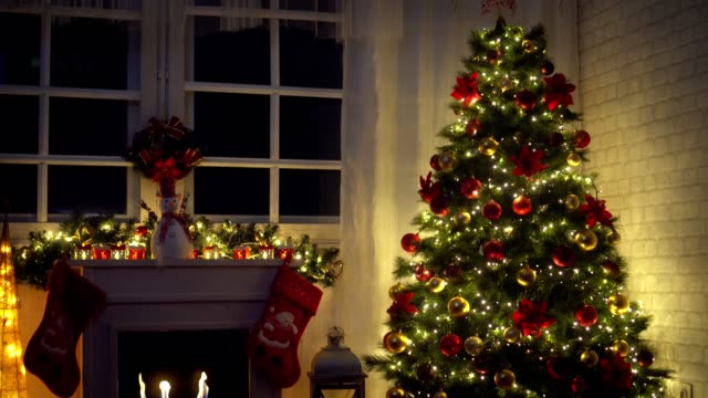 Christmas Tree Near Fireplace at Home video