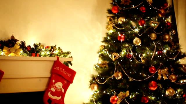 Christmas Tree near Fireplace video