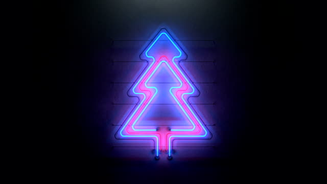 vídeos de stock e filmes b-roll de christmas tree neon sign seamless loop 3d render animation - arvore de natal