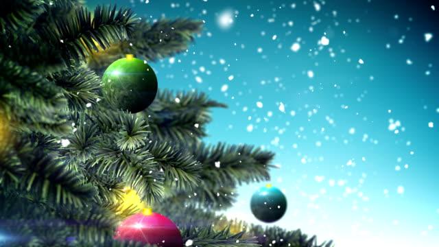 Christmas tree on blue background loop video