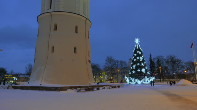 Christmas tree on Cathedral Square in Vilnius, Lithuania video
