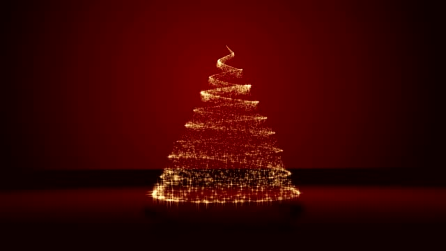 Christmas tree on red background video