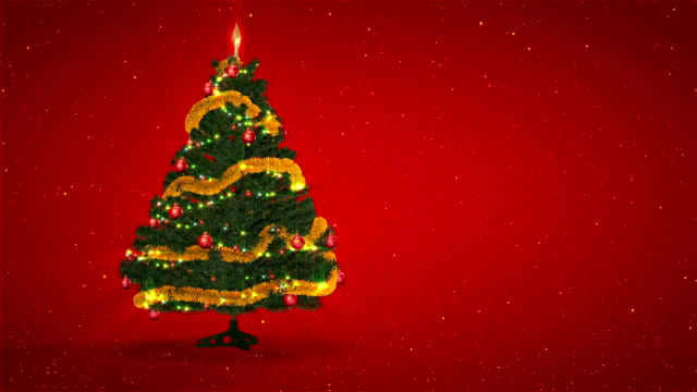 Christmas Tree on red background with heaven sparks video