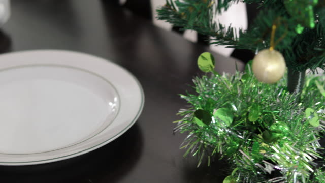 Christmas tree on table for dinner with chicken background