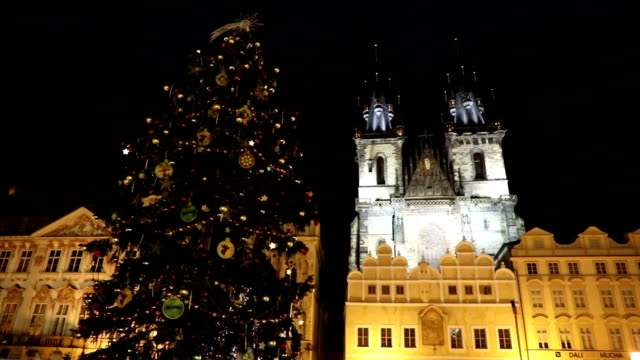 Christmas tree on the Old Town Square  in Prague video