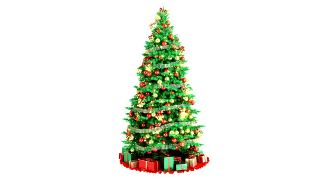 Christmas Tree On White Background. With Alpha Matte. Loop video