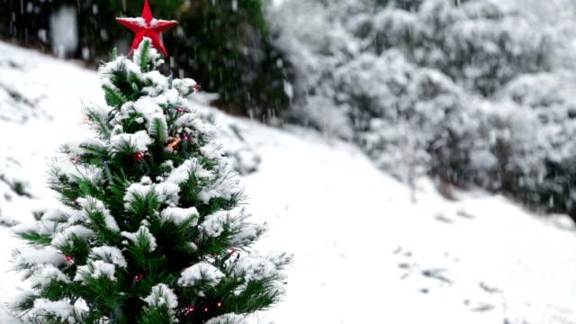 Christmas Tree Snowing Loop video