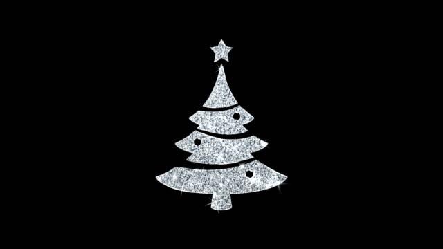 クリスマスツリースターアイコン輝くグリッターループ点滅粒子. - アイコン プレゼント点の映像素材/bロール