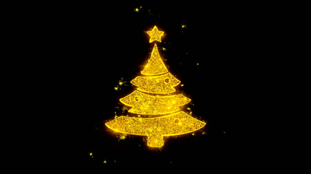 christmas tree star icon sparks particles on black background. - christmas background стоковые видео и кадры b-roll