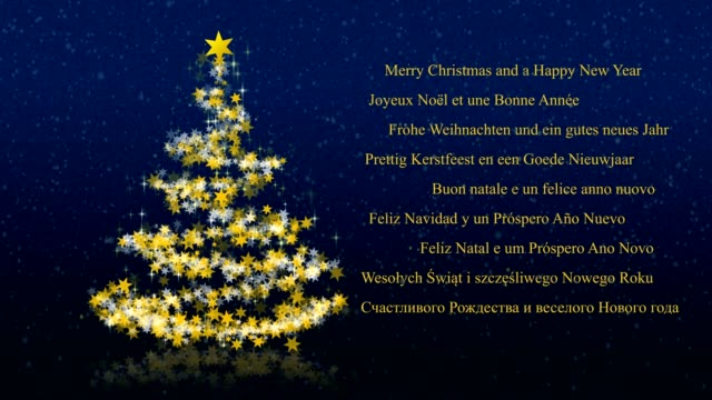 Christmas tree with glittering stars on blue background, multilingual seasons greetings video