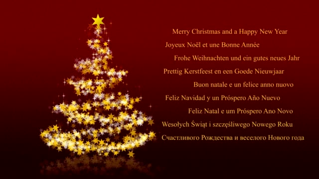 Christmas tree with glittering stars on red background, multilingual seasons greetings video