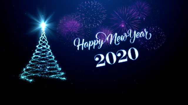 vídeos de stock e filmes b-roll de christmas tree with happy new year wishing for year 2020 in blue - christmas card