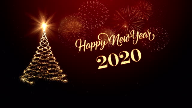 Christmas tree with happy new year wishing for year 2020 in red Christmas tree with happy new year wishing for year 2020 in red 2020 stock videos & royalty-free footage