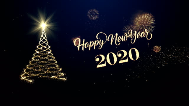 Christmas tree with happy new year wishing for year 2020 Christmas tree with happy new year wishing for year 2020 2020 stock videos & royalty-free footage