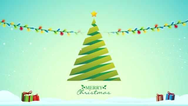 Christmas Tree with lights and Christmas gifts video