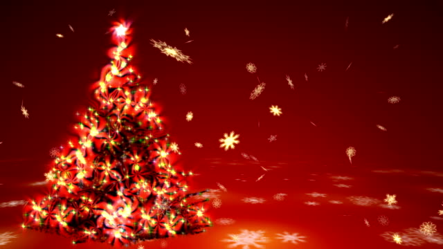 Christmas tree with surrealistic plasma lights and blizzard of gold snowflakes on a red background video