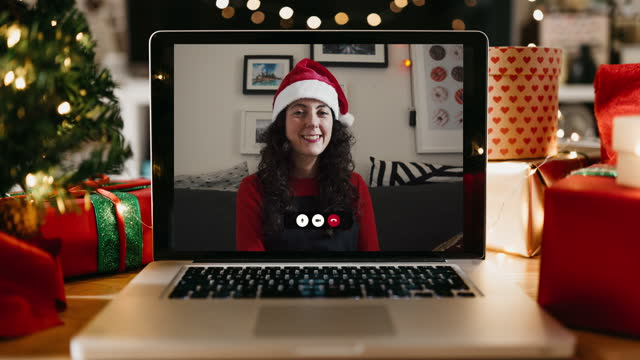 Christmas video call on a laptop monitor video