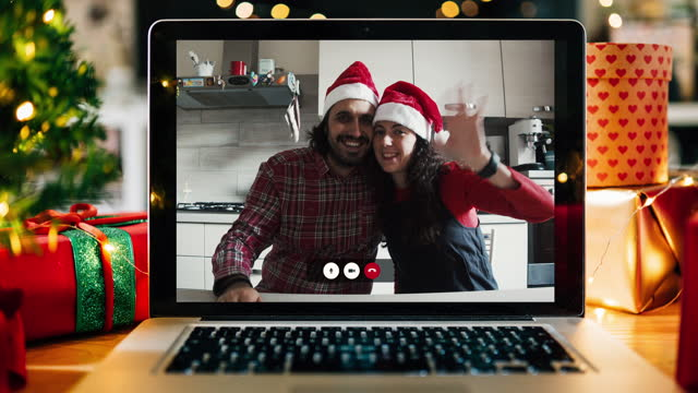 Christmas video call on a laptop screen at home video