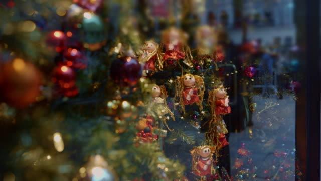 Christmas window New York City Reflection of People New York City at Christmas, crowd of people christmas shopping in the big Apple. christmas decoration stock videos & royalty-free footage