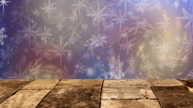 Christmas, Winter background of snowflakes, stars and holiday lights. video