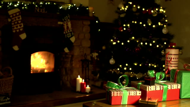 ChristmasLiving Room scene with Gifts, Tree & Fireplace video