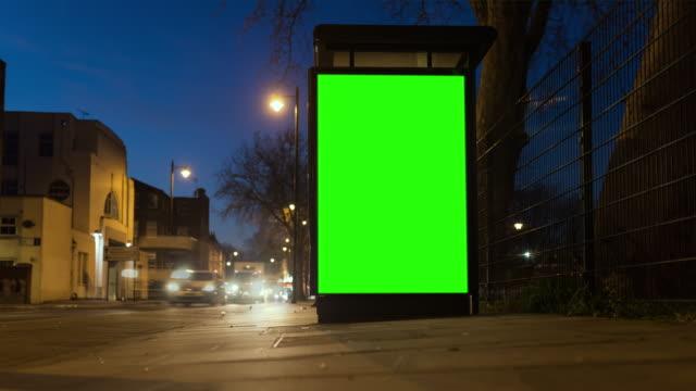 4K Chroma Key Billboard On Bus Stop