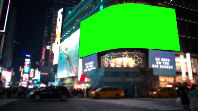 Chroma Key Green screen Times square New York Key your own ad into famous Time Square. billboard stock videos & royalty-free footage