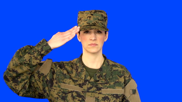 Chroma Key of Female Soldier Saluting video