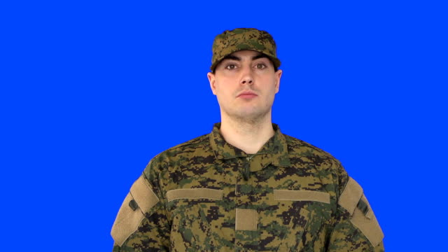 Chroma Key of Male Soldier Standing video