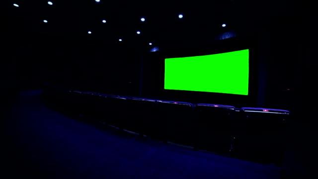 Chroma key screen in blue cinema hall video