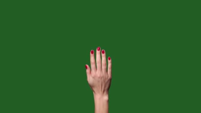chromakey. grüner bildschirm. touchscreen frau fingergesten - zahlentastatur stock-videos und b-roll-filmmaterial