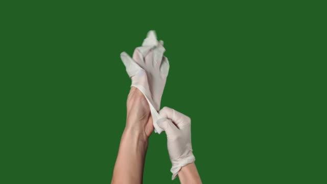 chromakey. green screen. woman puts the white medical gloves. - rękawiczka filmów i materiałów b-roll