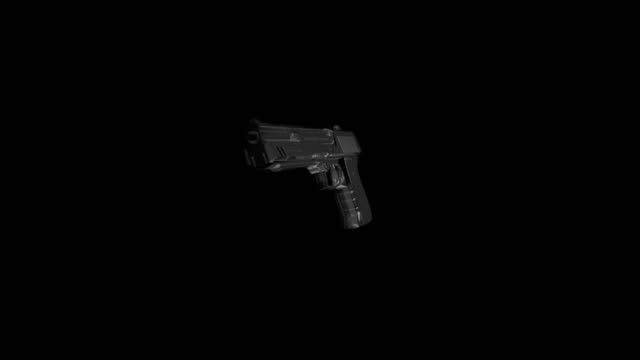 Chrome gun flying in the air (preview darker than video) video